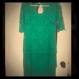 ABGDress Dresses - ABGDress Teal Green Floral Laced Dress
